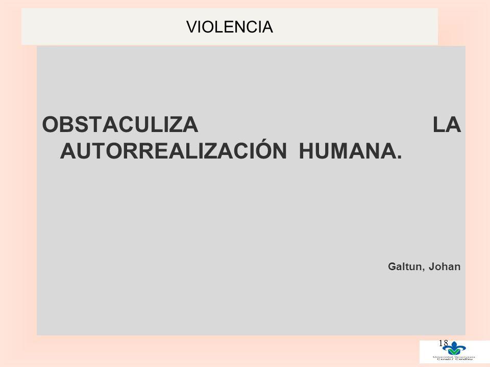 VIOLENCIA OBSTACULIZA LA AUTORREALIZACIÓN HUMANA. Galtun, Johan 18