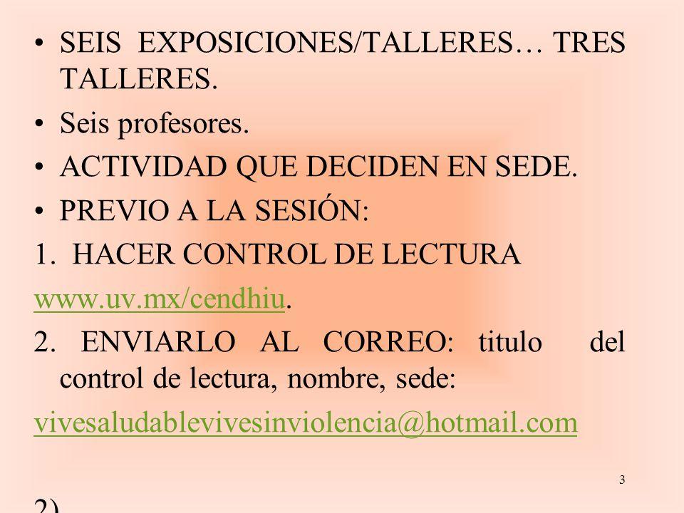 SEIS EXPOSICIONES/TALLERES… TRES TALLERES. Seis profesores.