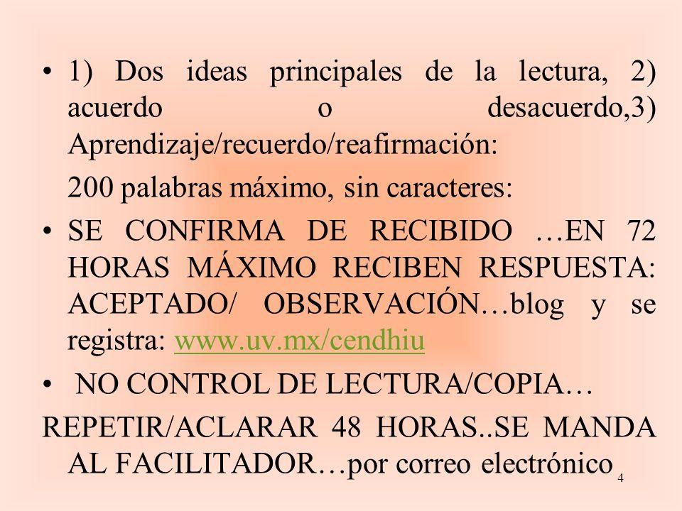 1) Dos ideas principales de la lectura, 2) acuerdo o desacuerdo,3) Aprendizaje/recuerdo/reafirmación: 200 palabras máximo, sin caracteres: SE CONFIRMA DE RECIBIDO …EN 72 HORAS MÁXIMO RECIBEN RESPUESTA: ACEPTADO/ OBSERVACIÓN…blog y se registra: www.uv.mx/cendhiuwww.uv.mx/cendhiu NO CONTROL DE LECTURA/COPIA… REPETIR/ACLARAR 48 HORAS..SE MANDA AL FACILITADOR…por correo electrónico 4