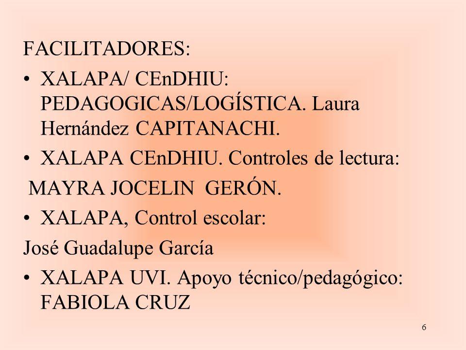FACILITADORES: XALAPA/ CEnDHIU: PEDAGOGICAS/LOGÍSTICA.