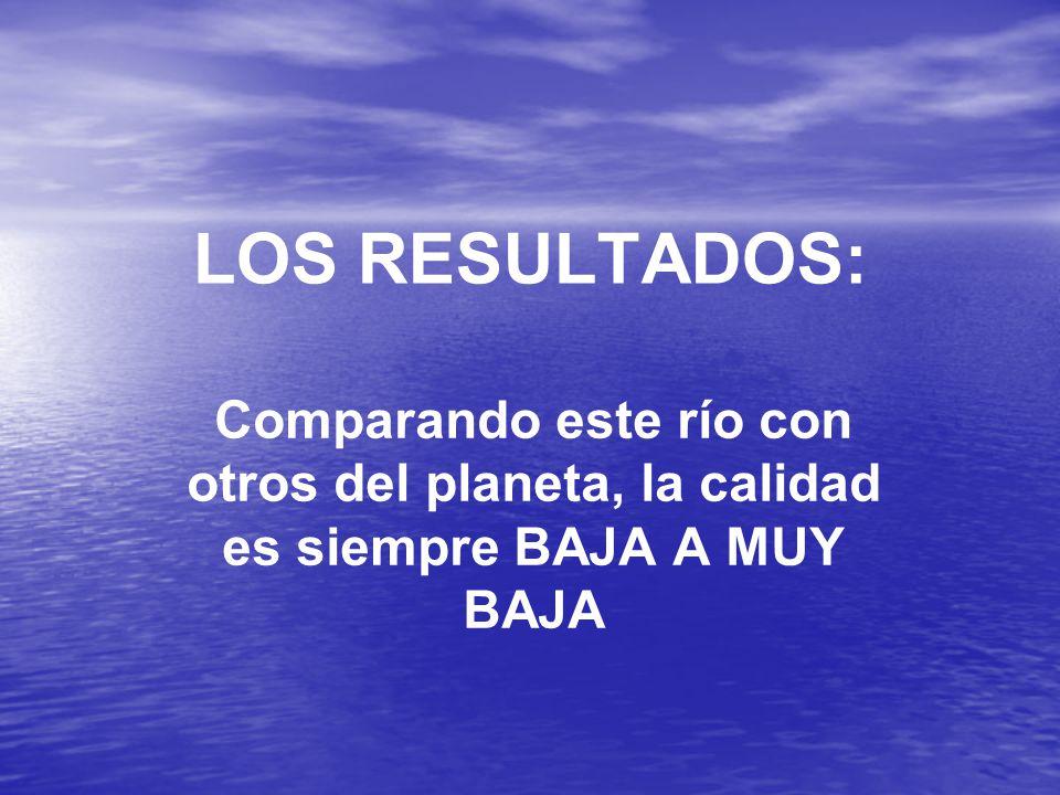 LOS RESULTADOS: Comparando este río con otros del planeta, la calidad es siempre BAJA A MUY BAJA