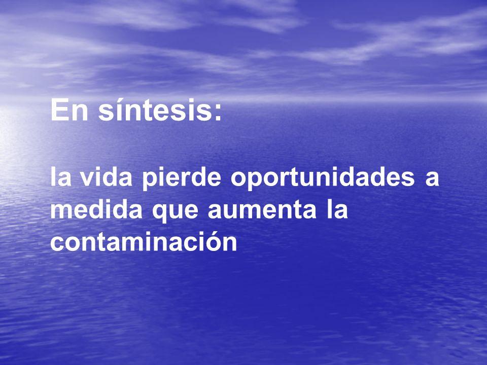 En síntesis: la vida pierde oportunidades a medida que aumenta la contaminación