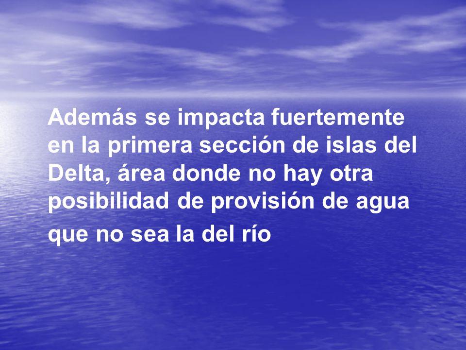 Además se impacta fuertemente en la primera sección de islas del Delta, área donde no hay otra posibilidad de provisión de agua que no sea la del río