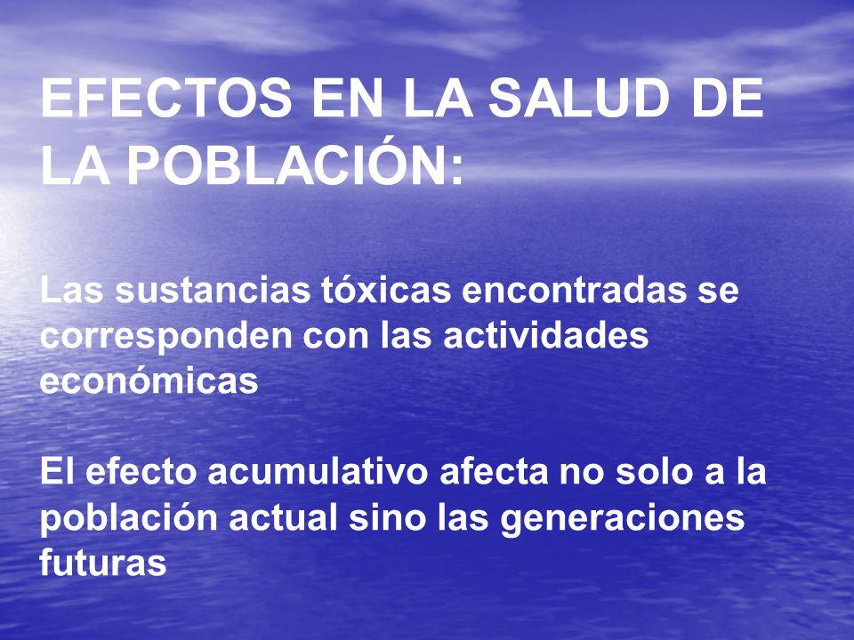 EFECTOS EN LA SALUD DE LA POBLACIÓN: Las sustancias tóxicas encontradas se corresponden con las actividades económicas El efecto acumulativo afecta no solo a la población actual sino las generaciones futuras