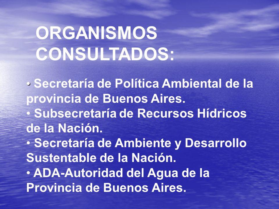 ORGANISMOS CONSULTADOS: Secretaría de Política Ambiental de la provincia de Buenos Aires.