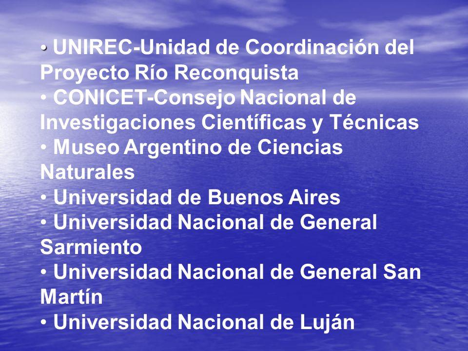 UNIREC-Unidad de Coordinación del Proyecto Río Reconquista CONICET-Consejo Nacional de Investigaciones Científicas y Técnicas Museo Argentino de Ciencias Naturales Universidad de Buenos Aires Universidad Nacional de General Sarmiento Universidad Nacional de General San Martín Universidad Nacional de Luján