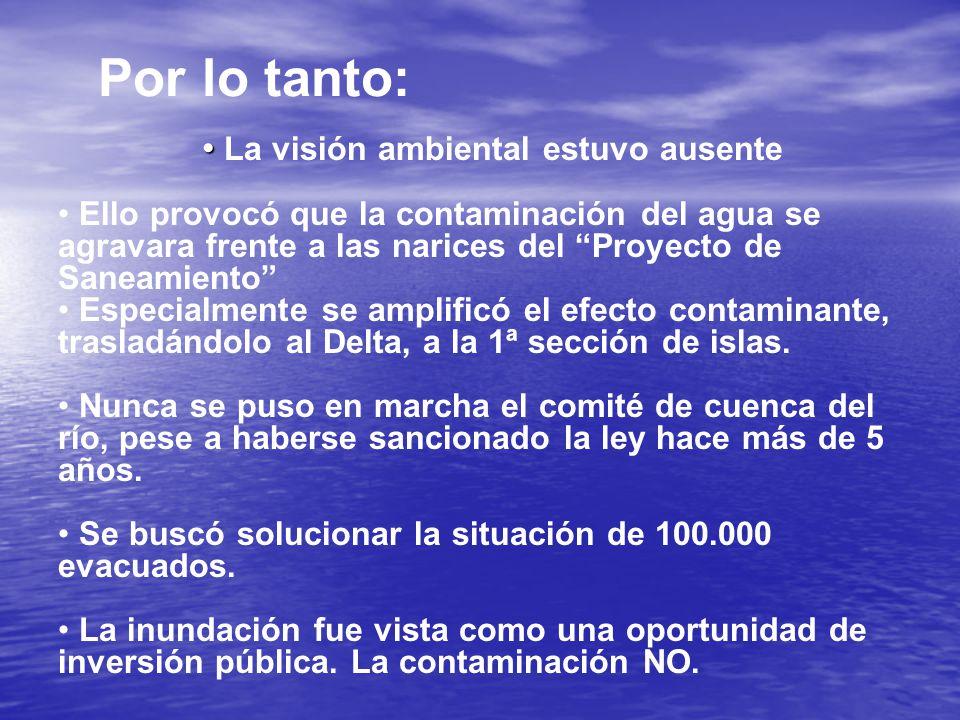 Por lo tanto: La visión ambiental estuvo ausente Ello provocó que la contaminación del agua se agravara frente a las narices del Proyecto de Saneamiento Especialmente se amplificó el efecto contaminante, trasladándolo al Delta, a la 1ª sección de islas.