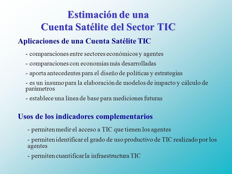 Estimación de una Cuenta Satélite del Sector TIC Aplicaciones de una Cuenta Satélite TIC - comparaciones entre sectores económicos y agentes - comparaciones con economías más desarrolladas - aporta antecedentes para el diseño de políticas y estrategias - es un insumo para la elaboración de modelos de impacto y cálculo de parámetros - establece una línea de base para mediciones futuras Usos de los indicadores complementarios - permiten medir el acceso a TIC que tienen los agentes - permiten identificar el grado de uso productivo de TIC realizado por los agentes - permiten cuantificar la infraestructura TIC