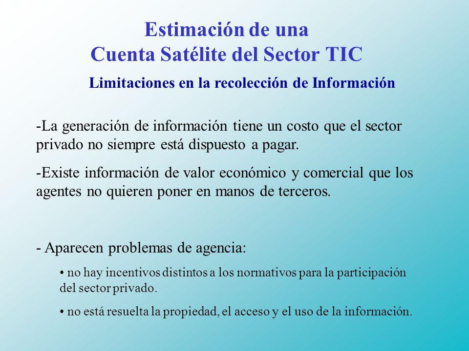 Estimación de una Cuenta Satélite del Sector TIC Limitaciones en la recolección de Información -La generación de información tiene un costo que el sector privado no siempre está dispuesto a pagar.