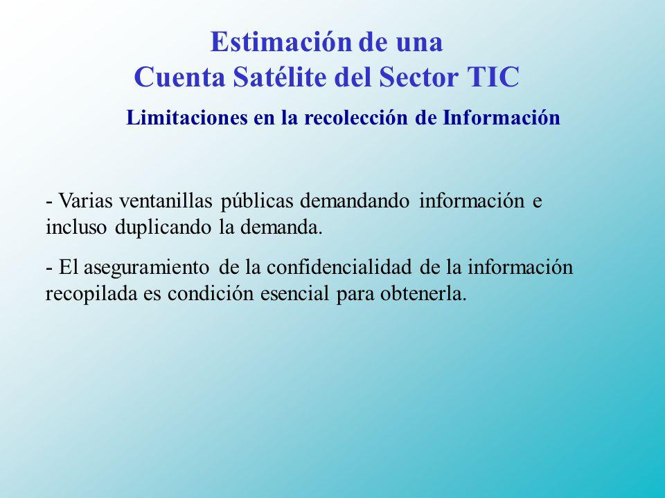 Estimación de una Cuenta Satélite del Sector TIC Limitaciones en la recolección de Información - Varias ventanillas públicas demandando información e incluso duplicando la demanda.
