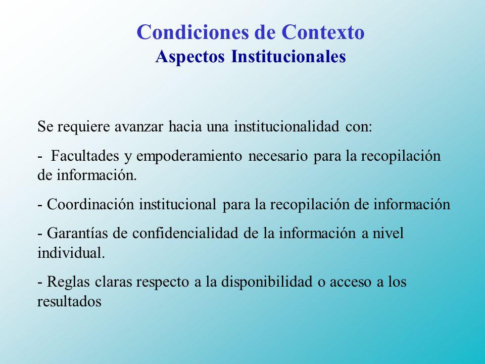 Condiciones de Contexto Aspectos Institucionales Se requiere avanzar hacia una institucionalidad con: - Facultades y empoderamiento necesario para la recopilación de información.