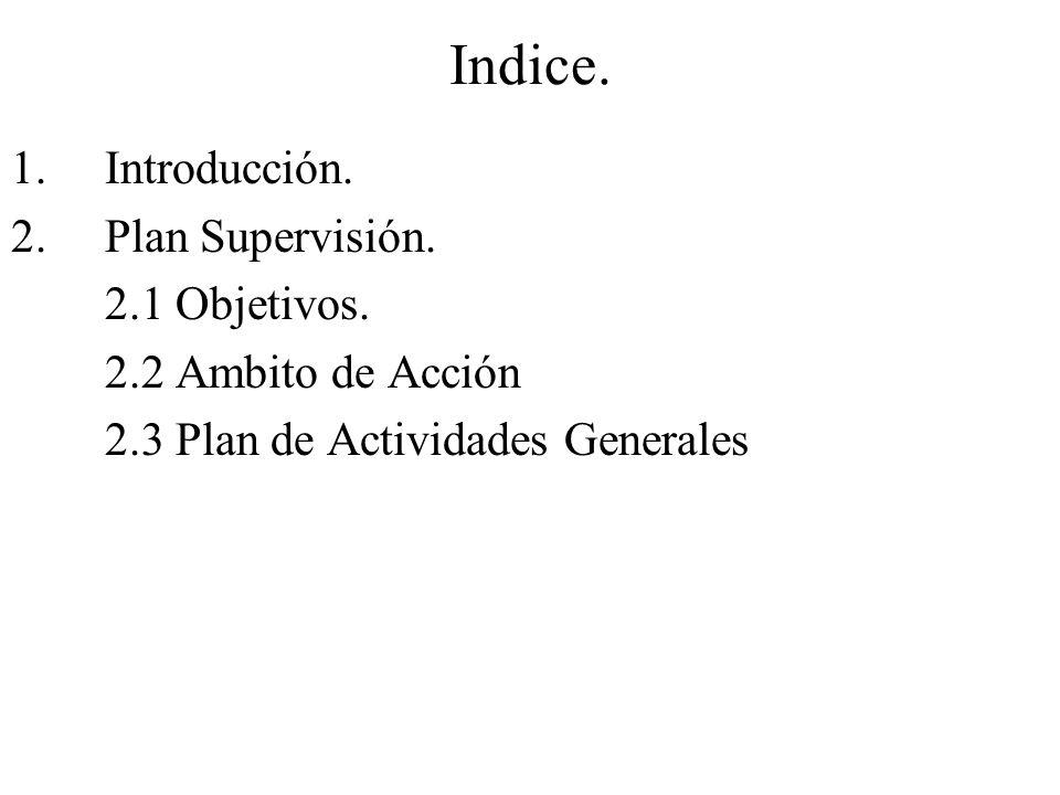 Indice. 1.Introducción. 2.Plan Supervisión. 2.1 Objetivos.