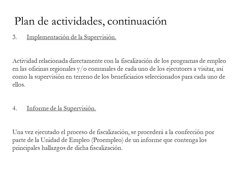 Plan de actividades, continuación 3. Implementación de la Supervisión.