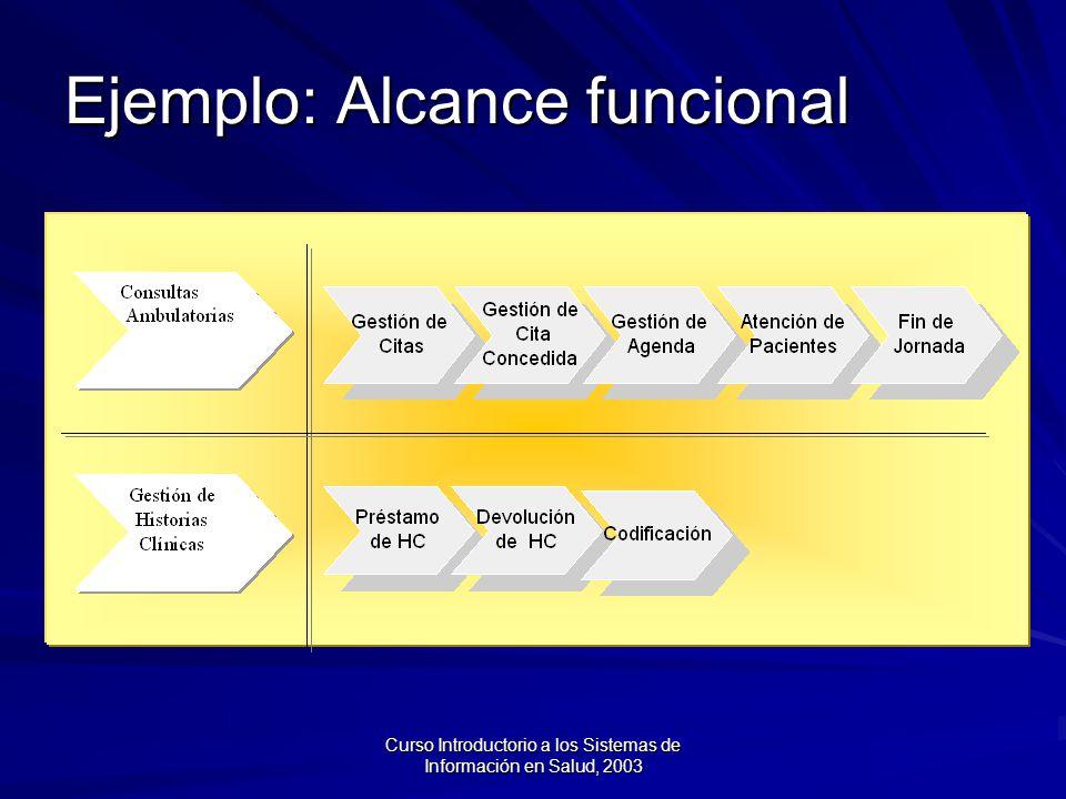 Curso Introductorio a los Sistemas de Información en Salud, 2003 Ejemplo: Alcance funcional