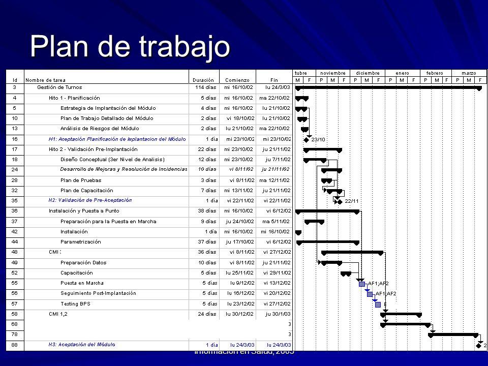 Curso Introductorio a los Sistemas de Información en Salud, 2003 Plan de trabajo