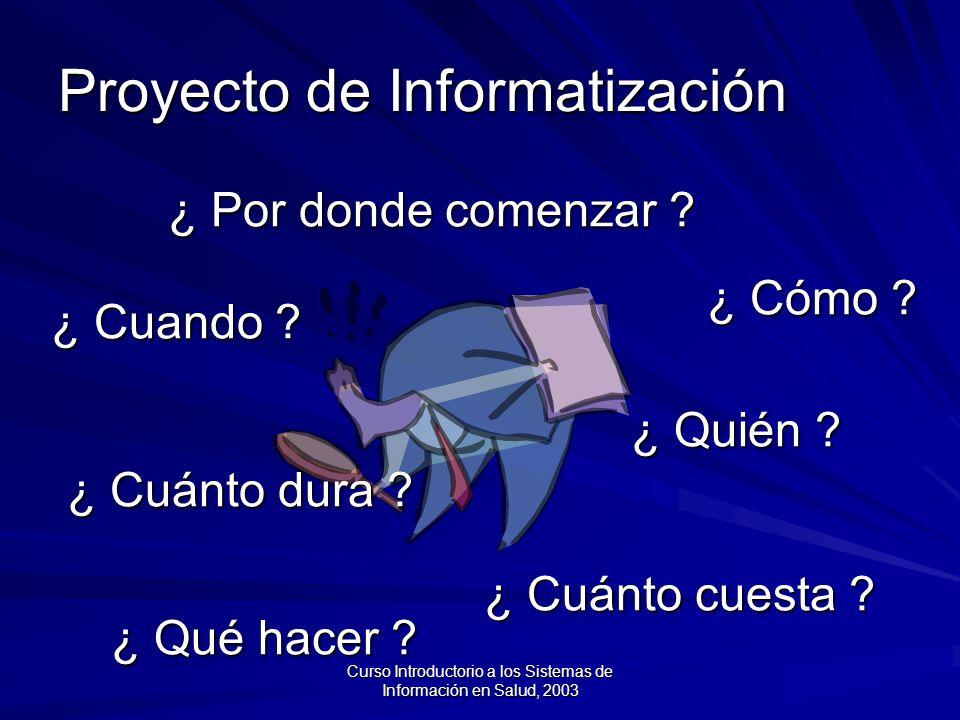 Curso Introductorio a los Sistemas de Información en Salud, 2003 ¿ Por donde comenzar .