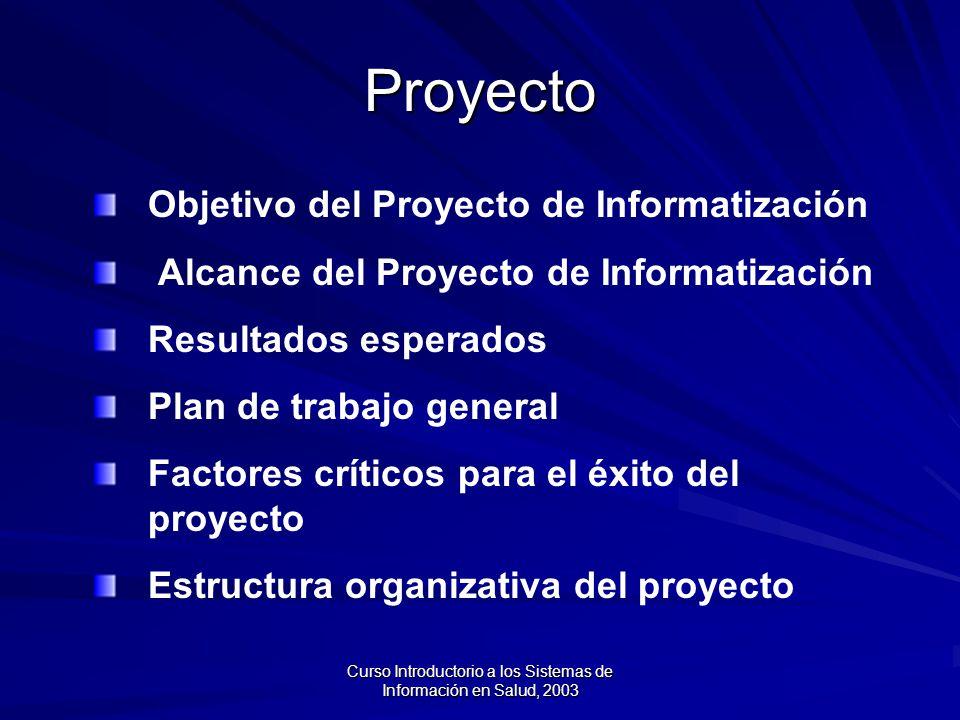 Curso Introductorio a los Sistemas de Información en Salud, 2003 Proyecto Objetivo del Proyecto de Informatización Alcance del Proyecto de Informatización Resultados esperados Plan de trabajo general Factores críticos para el éxito del proyecto Estructura organizativa del proyecto