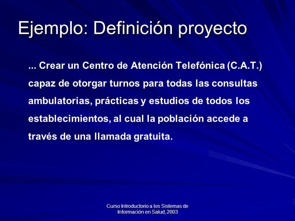 Curso Introductorio a los Sistemas de Información en Salud, 2003 Ejemplo: Definición proyecto...