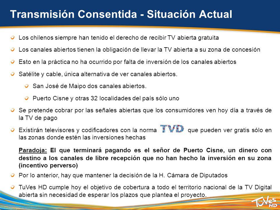 Los chilenos siempre han tenido el derecho de recibir TV abierta gratuita Los canales abiertos tienen la obligación de llevar la TV abierta a su zona de concesión Esto en la práctica no ha ocurrido por falta de inversión de los canales abiertos Satélite y cable, única alternativa de ver canales abiertos.
