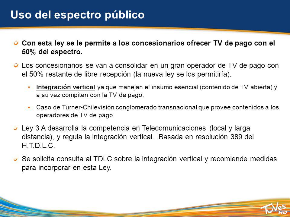 Uso del espectro público Con esta ley se le permite a los concesionarios ofrecer TV de pago con el 50% del espectro.