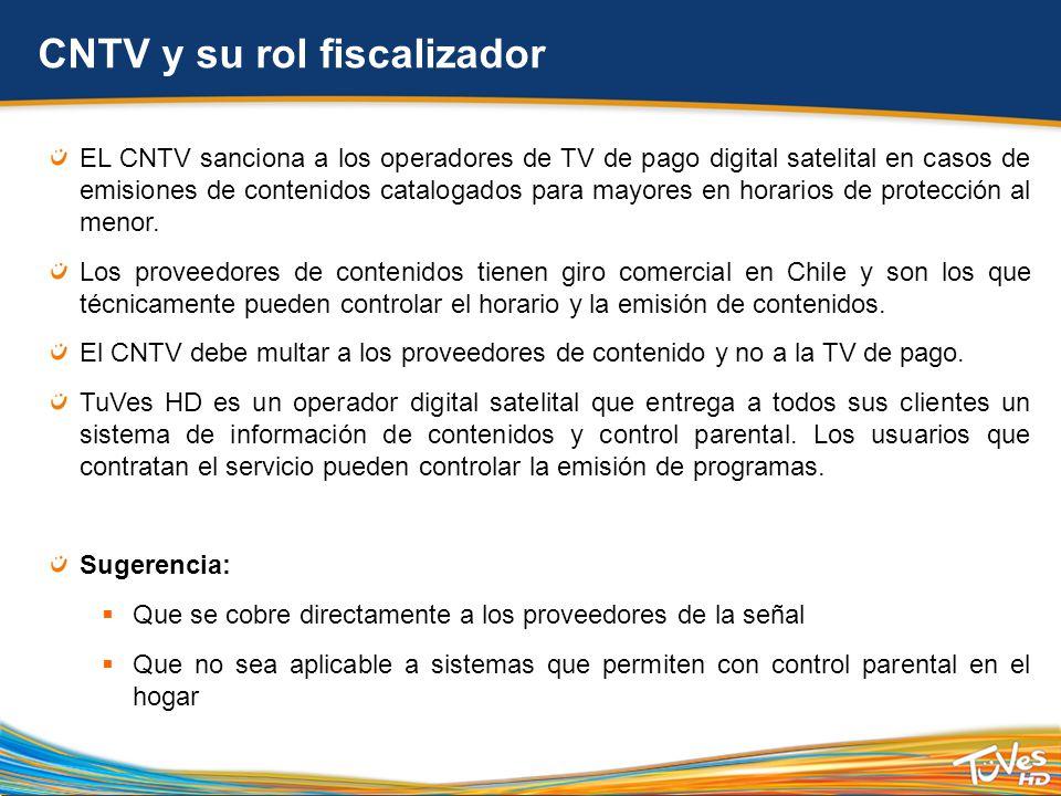 CNTV y su rol fiscalizador EL CNTV sanciona a los operadores de TV de pago digital satelital en casos de emisiones de contenidos catalogados para mayores en horarios de protección al menor.