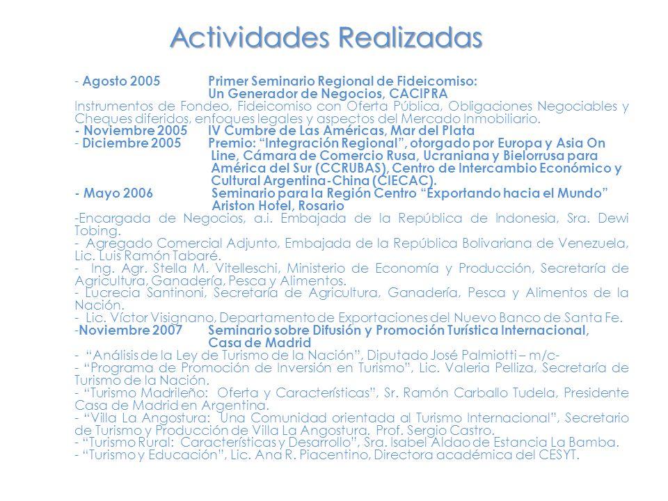 - Agosto 2005Primer Seminario Regional de Fideicomiso: Un Generador de Negocios, CACIPRA Instrumentos de Fondeo, Fideicomiso con Oferta Pública, Obligaciones Negociables y Cheques diferidos, enfoques legales y aspectos del Mercado Inmobiliario.
