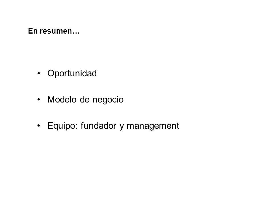 En resumen… Oportunidad Modelo de negocio Equipo: fundador y management