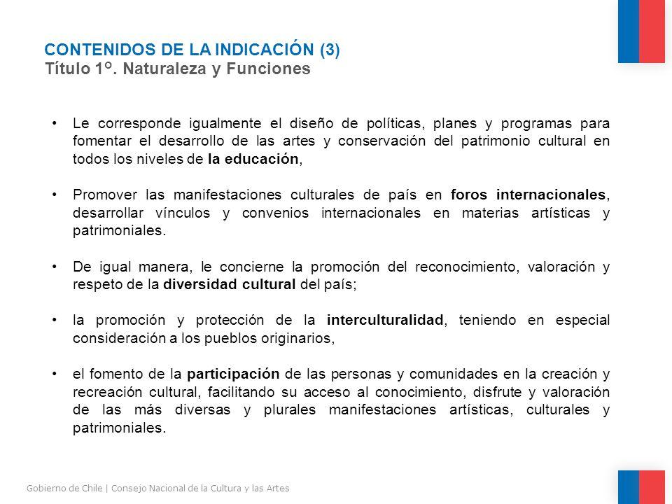 CONTENIDOS DE LA INDICACIÓN (3) Título 1°.