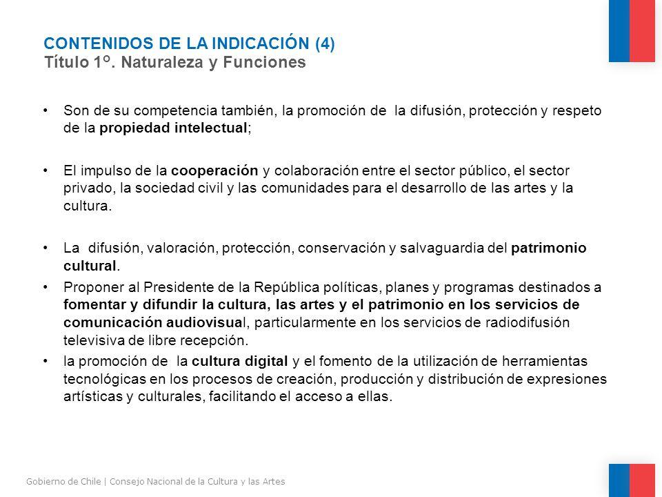 CONTENIDOS DE LA INDICACIÓN (4) Título 1°.