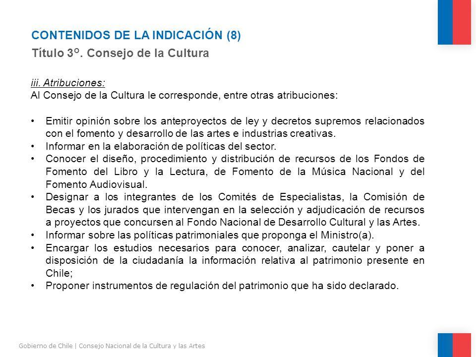 CONTENIDOS DE LA INDICACIÓN (8) Título 3°.
