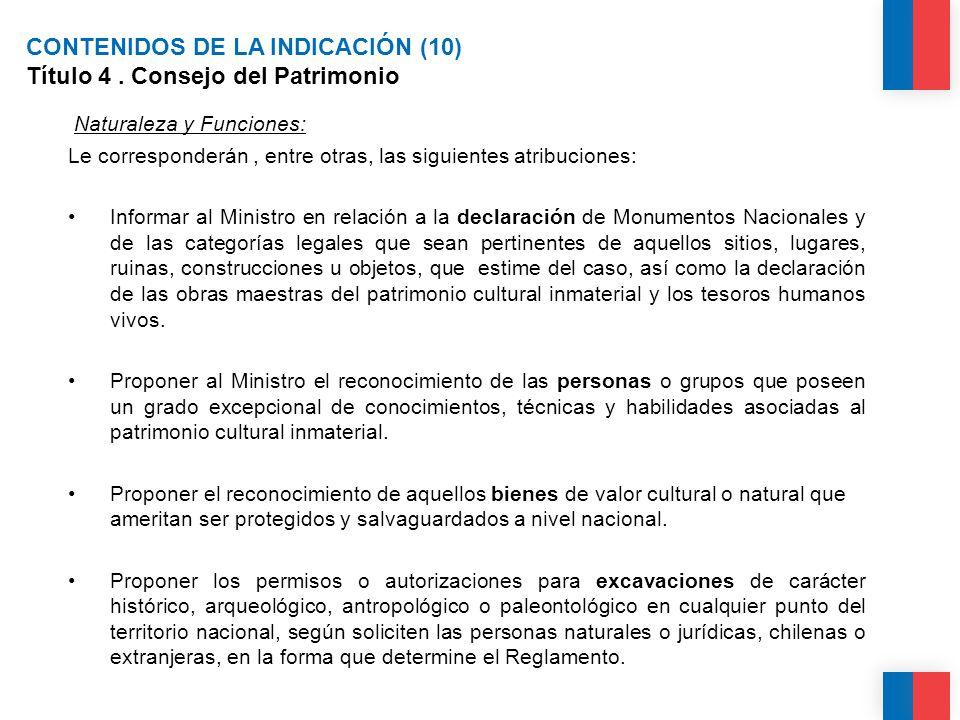 CONTENIDOS DE LA INDICACIÓN (10) Título 4.