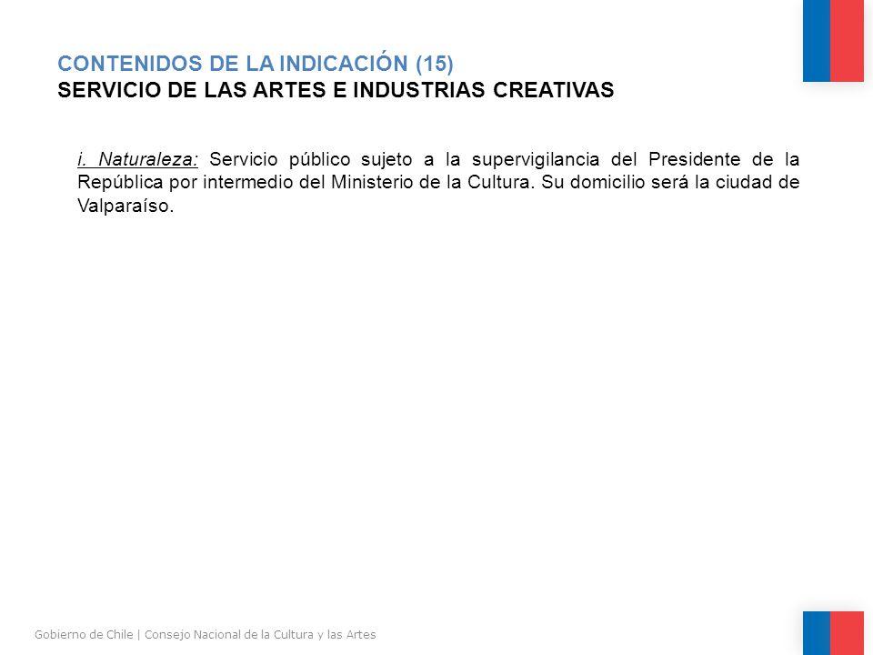 CONTENIDOS DE LA INDICACIÓN (15) SERVICIO DE LAS ARTES E INDUSTRIAS CREATIVAS Gobierno de Chile | Consejo Nacional de la Cultura y las Artes i.