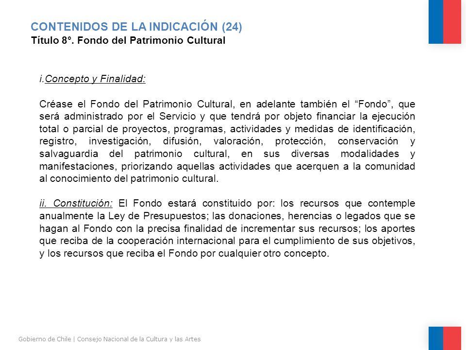 CONTENIDOS DE LA INDICACIÓN (24) Título 8°.