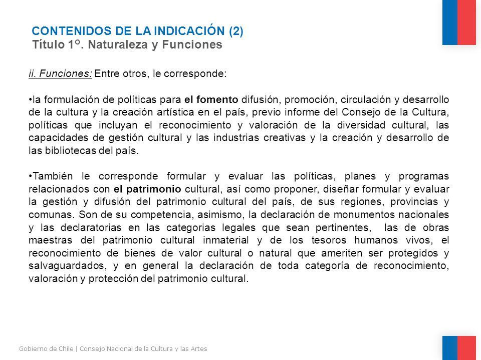 CONTENIDOS DE LA INDICACIÓN (2) Título 1°.