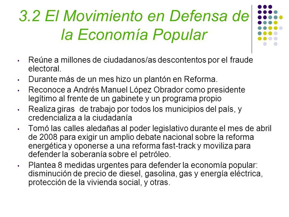 3.2 El Movimiento en Defensa de la Economía Popular Reúne a millones de ciudadanos/as descontentos por el fraude electoral.