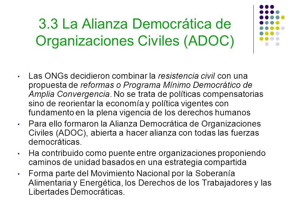 3.3 La Alianza Democrática de Organizaciones Civiles (ADOC) Las ONGs decidieron combinar la resistencia civil con una propuesta de reformas o Programa Mínimo Democrático de Amplia Convergencia.