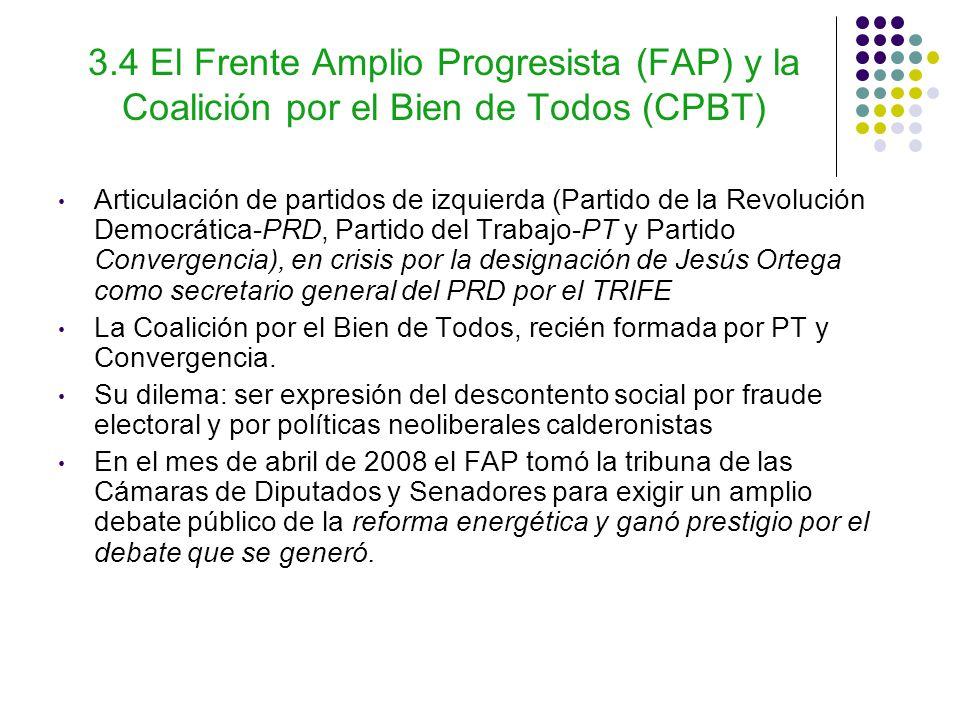 3.4 El Frente Amplio Progresista (FAP) y la Coalición por el Bien de Todos (CPBT) Articulación de partidos de izquierda (Partido de la Revolución Democrática-PRD, Partido del Trabajo-PT y Partido Convergencia), en crisis por la designación de Jesús Ortega como secretario general del PRD por el TRIFE La Coalición por el Bien de Todos, recién formada por PT y Convergencia.