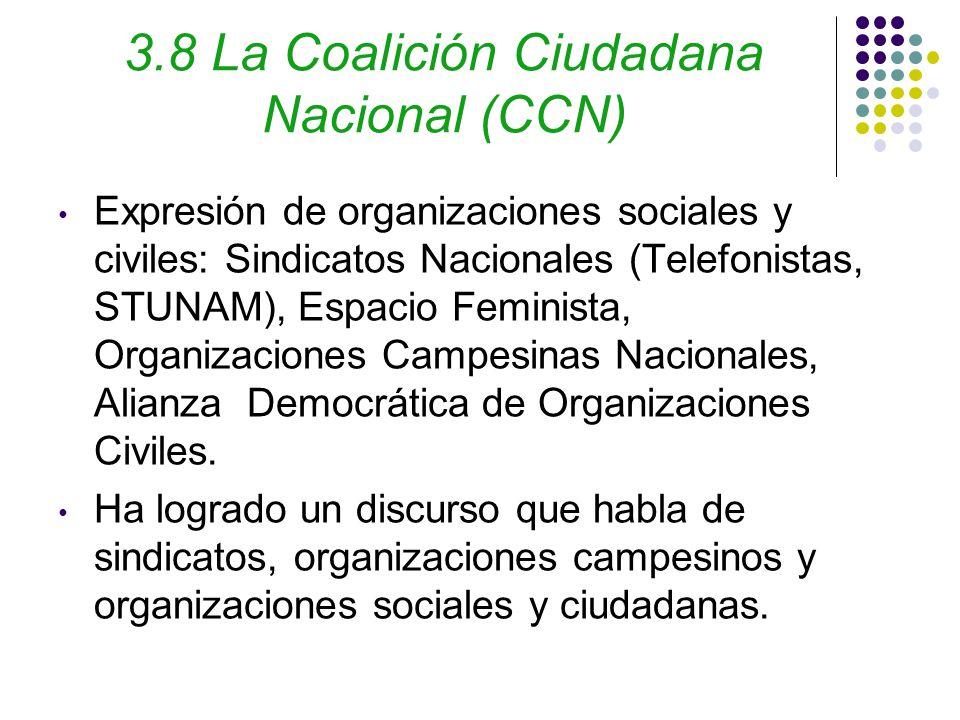 3.8 La Coalición Ciudadana Nacional (CCN) Expresión de organizaciones sociales y civiles: Sindicatos Nacionales (Telefonistas, STUNAM), Espacio Feminista, Organizaciones Campesinas Nacionales, Alianza Democrática de Organizaciones Civiles.