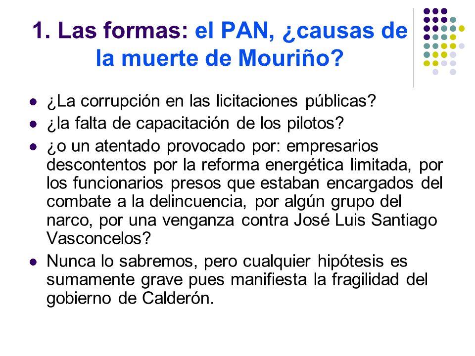 1. Las formas: el PAN, ¿causas de la muerte de Mouriño.