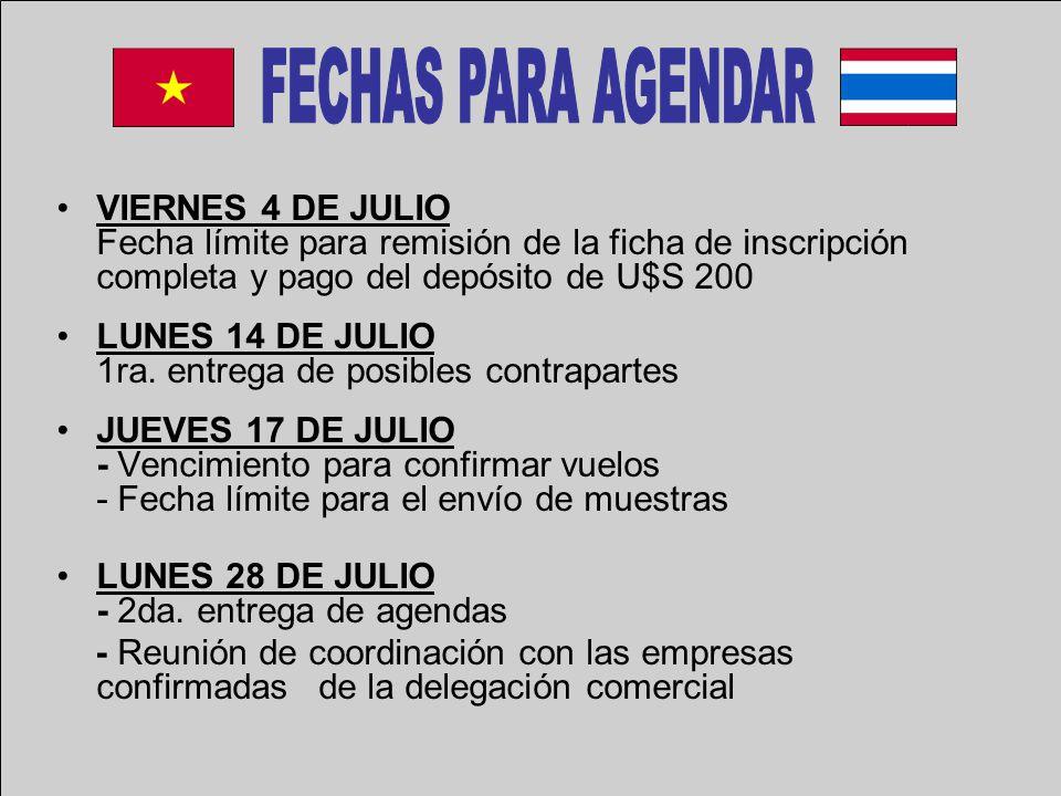 VIERNES 4 DE JULIO Fecha límite para remisión de la ficha de inscripción completa y pago del depósito de U$S 200 LUNES 14 DE JULIO 1ra.
