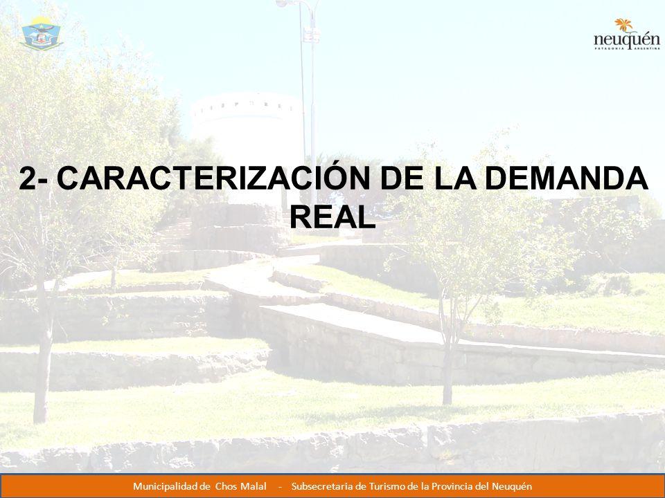 2- CARACTERIZACIÓN DE LA DEMANDA REAL Municipalidad de Chos Malal - Subsecretaria de Turismo de la Provincia del Neuquén