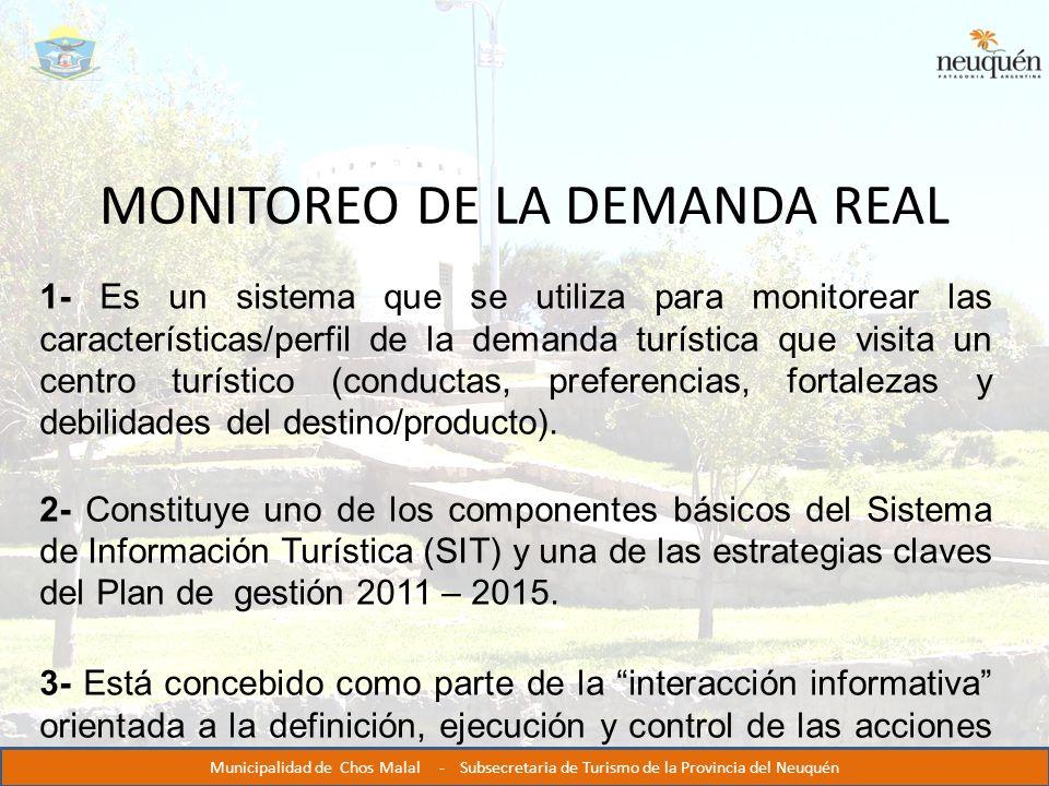 MONITOREO DE LA DEMANDA REAL 1- Es un sistema que se utiliza para monitorear las características/perfil de la demanda turística que visita un centro turístico (conductas, preferencias, fortalezas y debilidades del destino/producto).