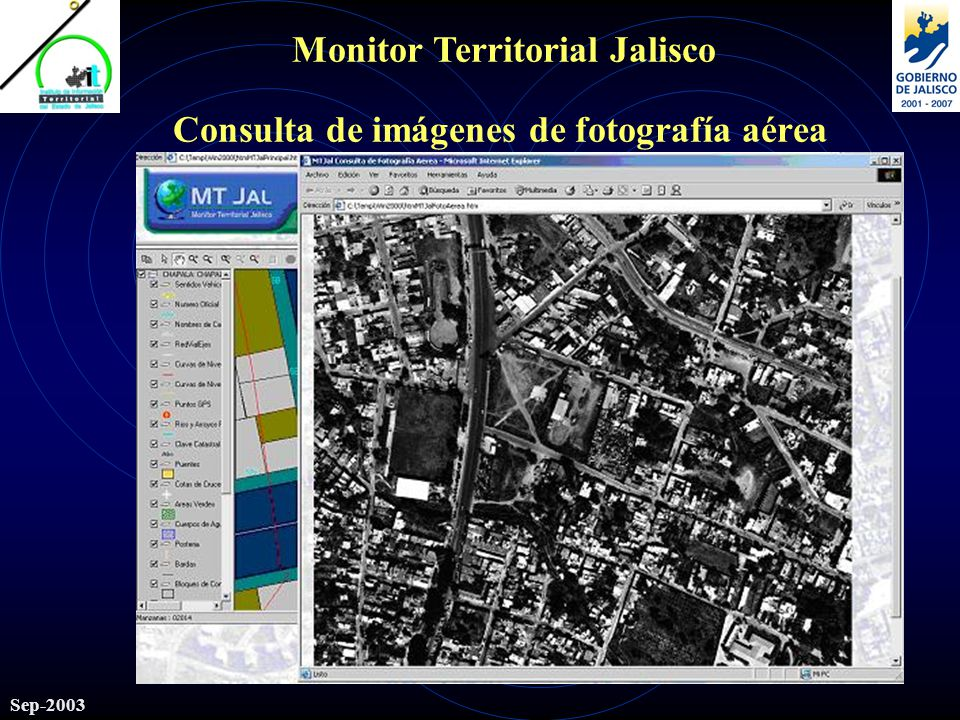 Monitor Territorial Jalisco Sep-2003 Consulta de imágenes de fotografía aérea
