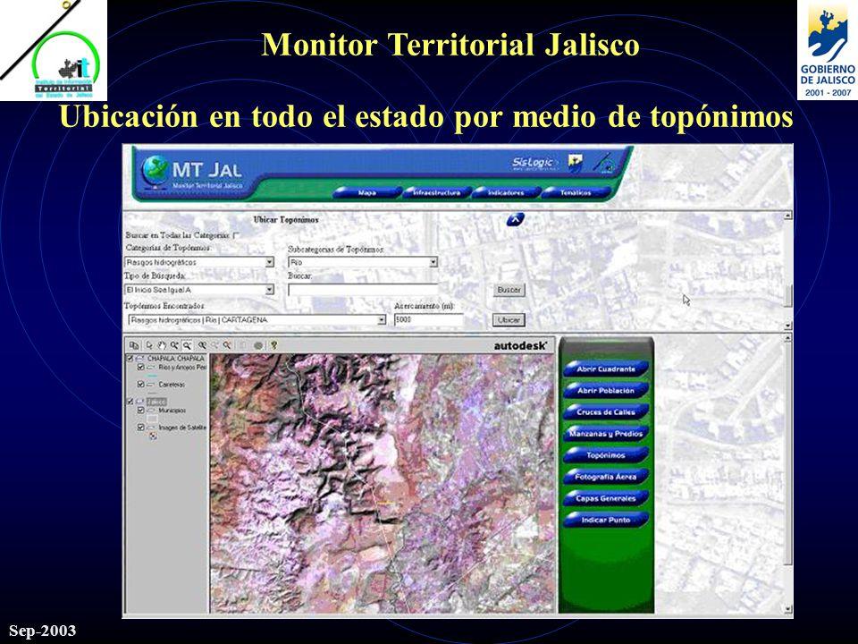 Monitor Territorial Jalisco Sep-2003 Ubicación en todo el estado por medio de topónimos
