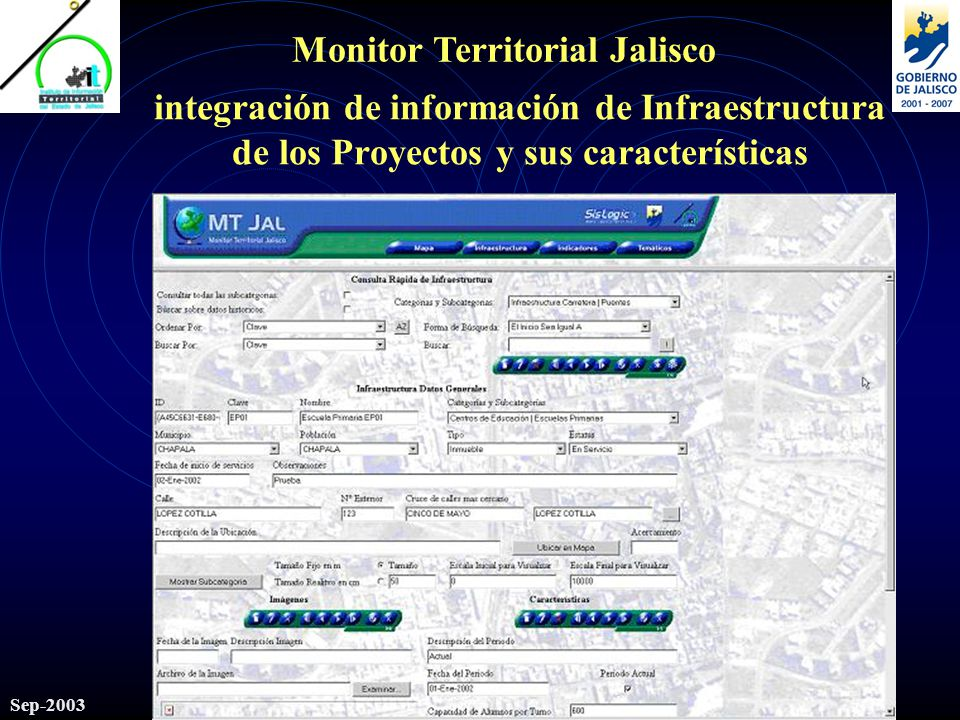 Monitor Territorial Jalisco Sep-2003 integración de información de Infraestructura de los Proyectos y sus características
