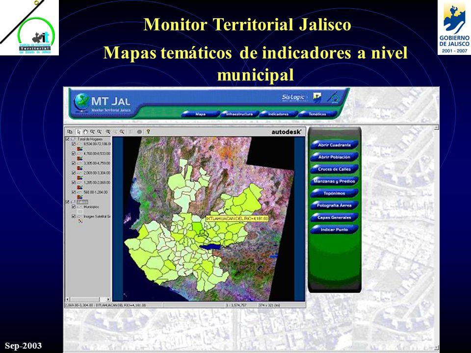 Monitor Territorial Jalisco Sep-2003 Mapas temáticos de indicadores a nivel municipal