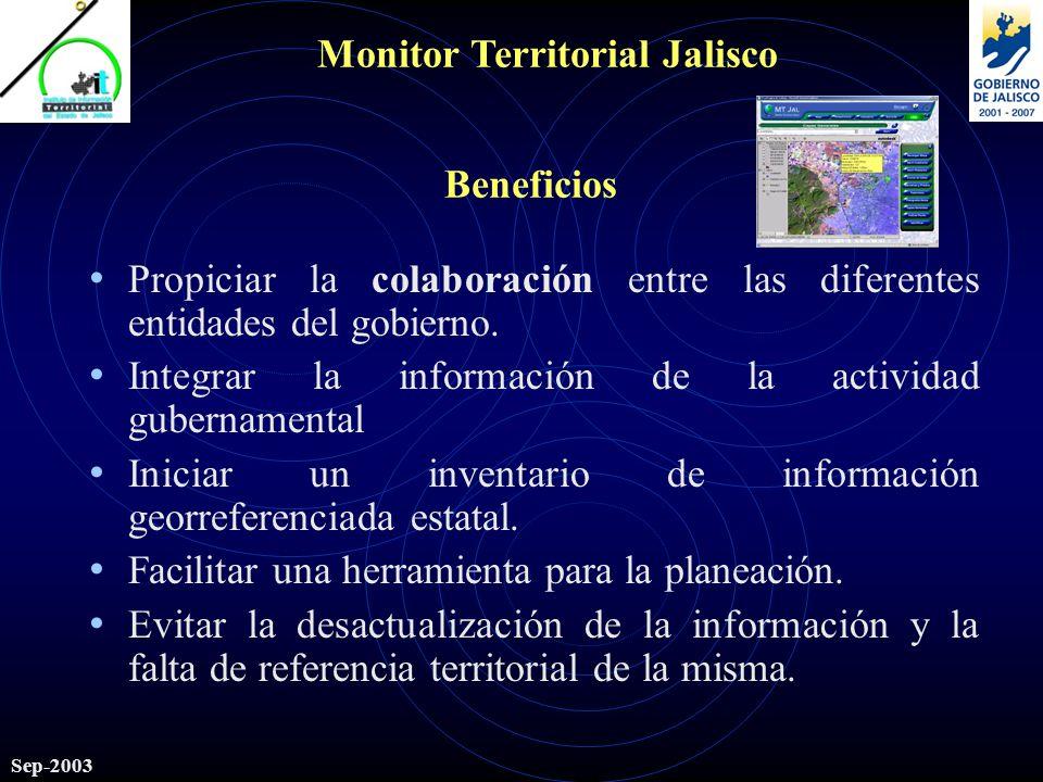 Monitor Territorial Jalisco Sep-2003 Beneficios Propiciar la colaboración entre las diferentes entidades del gobierno.