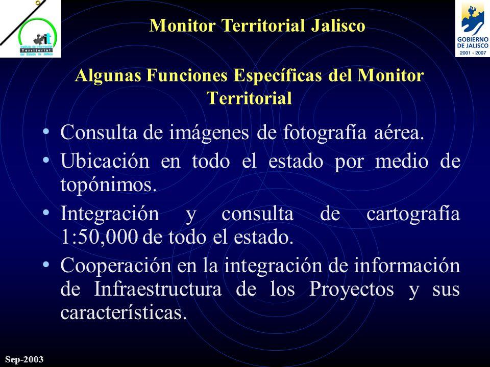 Monitor Territorial Jalisco Sep-2003 Algunas Funciones Específicas del Monitor Territorial Consulta de imágenes de fotografía aérea.