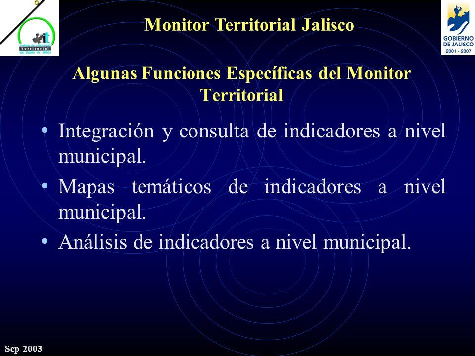 Monitor Territorial Jalisco Sep-2003 Algunas Funciones Específicas del Monitor Territorial Integración y consulta de indicadores a nivel municipal.