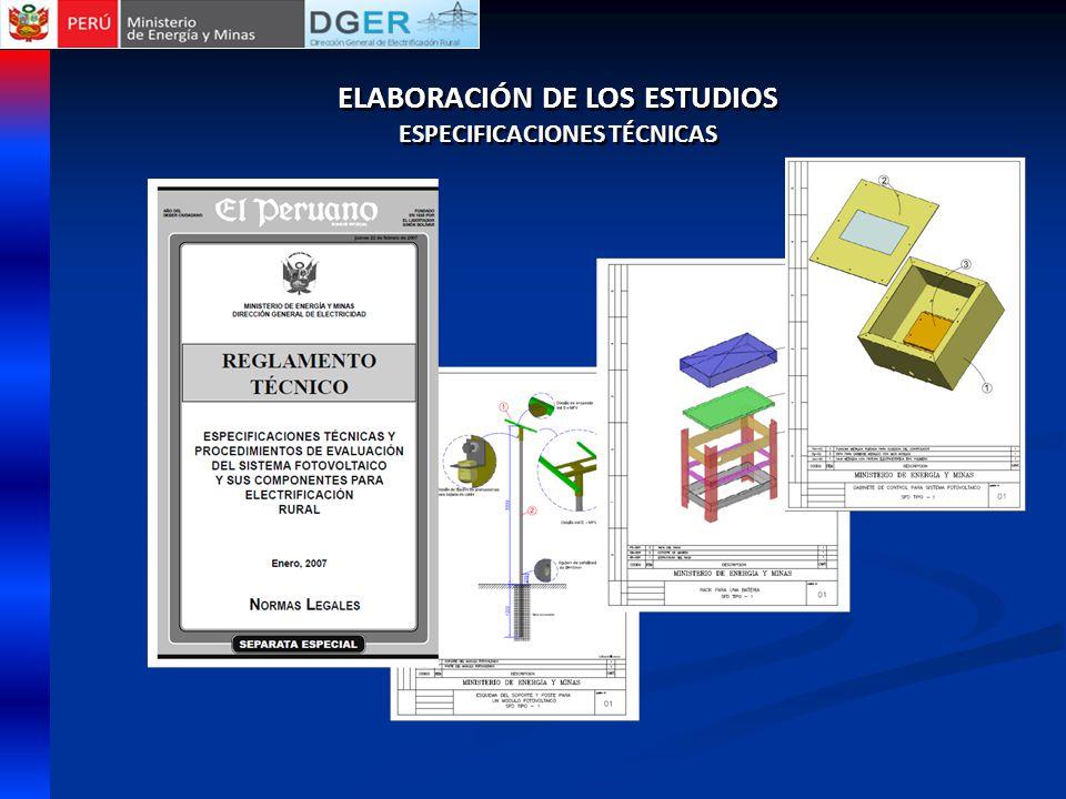 ELABORACIÓN DE LOS ESTUDIOS ESPECIFICACIONES TÉCNICAS ELABORACIÓN DE LOS ESTUDIOS ESPECIFICACIONES TÉCNICAS